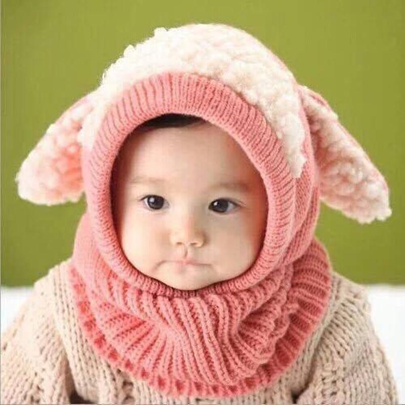 Mũ len kèm khăn tai cừu loại 1