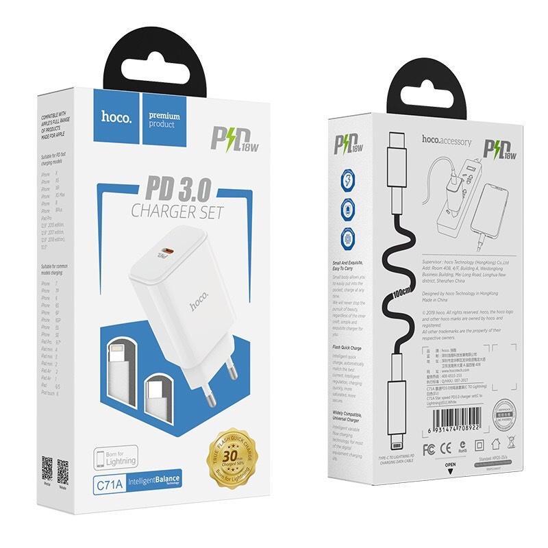 Combo bộ củ cáp sạc nhanh USB C -Lightning PD 3.0 Hoco C71A cho IPhone/IPad