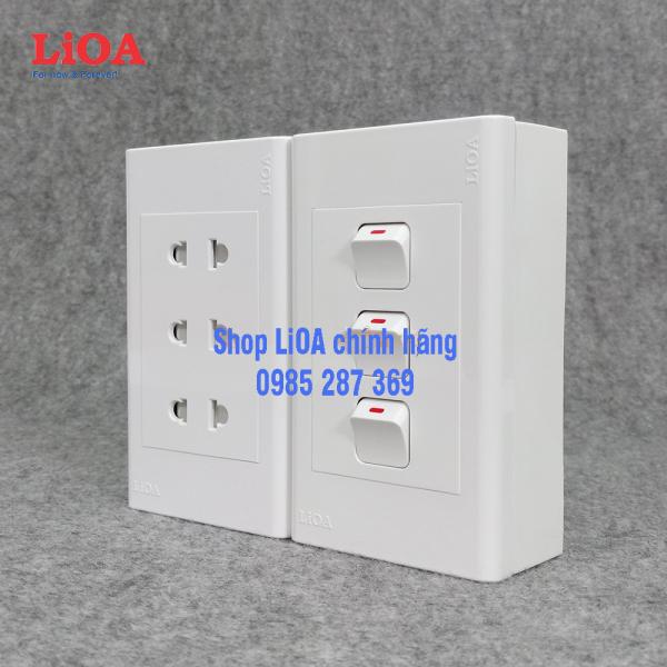Combo ổ cắm điện ba 2 chấu 16A (3520W) + 3 công tắc điện LiOA - Lắp nổi giá rẻ