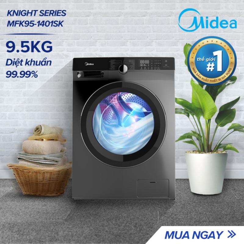 Bảng giá Máy Giặt Cửa Trước Midea MFK95-1401 9.5kg (Trắng/Xám Bạc) - Dòng cao cấp - Tính năng diệt khuẩn đến 99% - 14 Chế Độ Giặt bảo vệ quần áo và sức khỏe của bạn - Hàng chính hãng - Bảo hành 2 năm Điện máy Pico