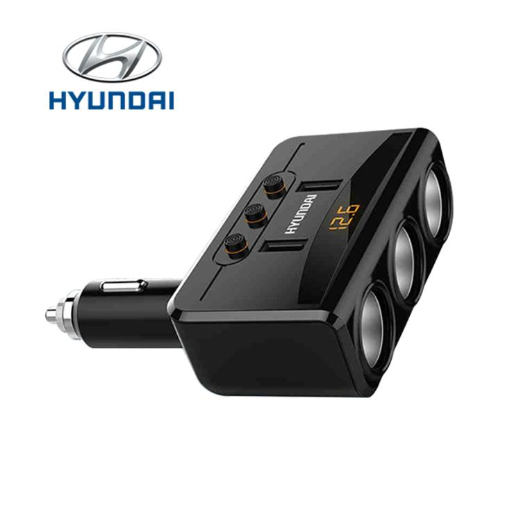 Bộ chia tẩu sạc ô tô, xe hơi Hyundai HY-29 gồm 3 tẩu 2 cổng USB sạc Quick 3.0 với điện áp 3.1A ( Màu đen)