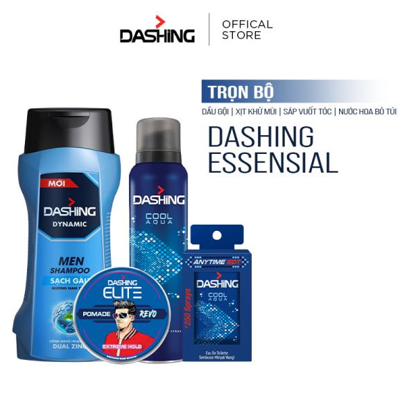 Trọn bộ Dashing: Dầu gội Dashing Dynamic 180g & Xịt khử mùi Cool Aqua 125ml & Nước hoa bỏ túi Cool Aqua 18ml & Sáp vuốt tóc Dashing Revo 75g