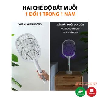 Vợt muỗi kiêm đèn bắt muỗi CAO CẤP có đế sạc đứng kiêm cổng sạc USB siêu hiệu quả, an toàn và siêu bền thumbnail