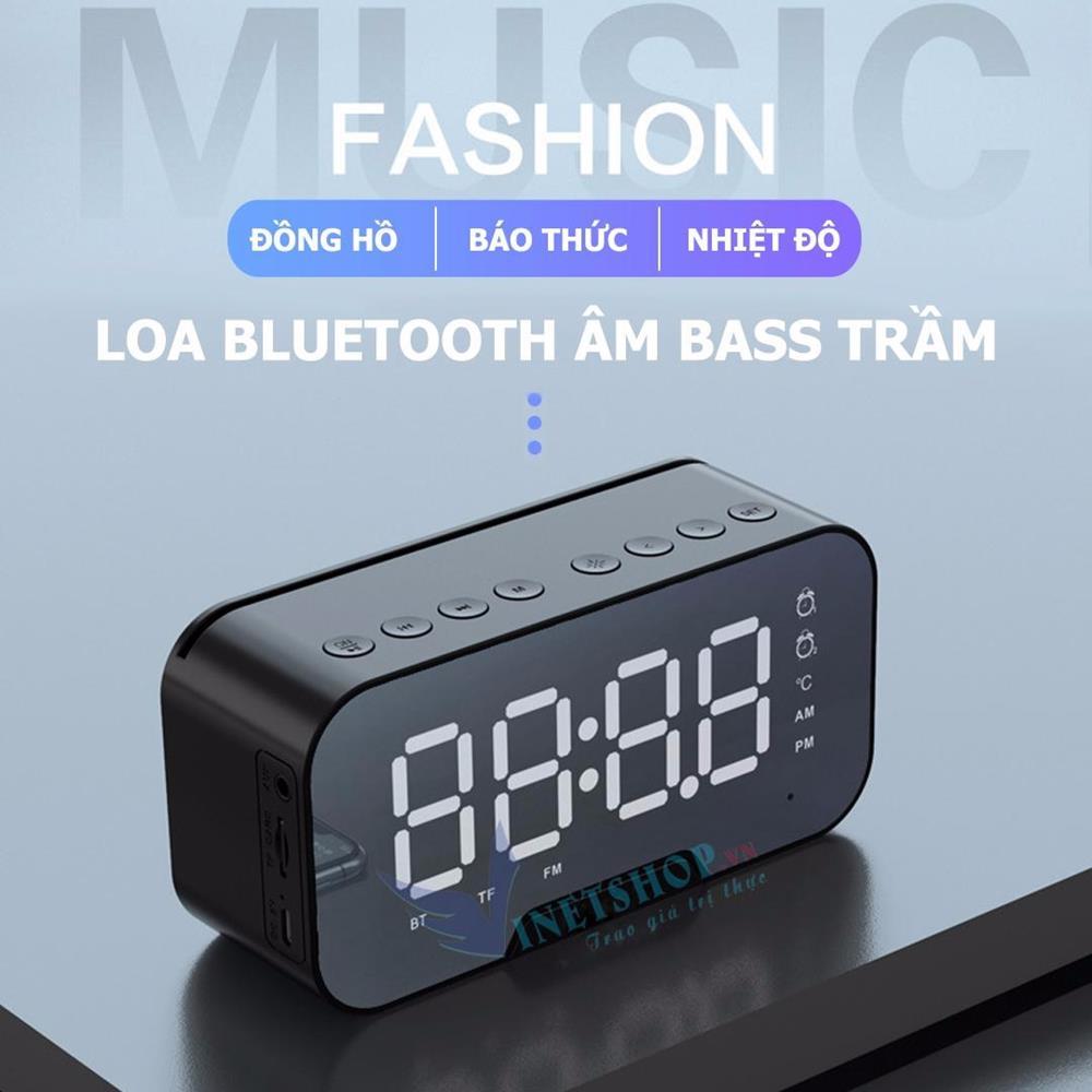 Loa bluetooth không dây Amoi G5 3in1 kèm đồng hồ báo thức nhiệt độ âm thanh hay bass trầm ấm pin trâu Có thể làm gương soi trang điểm tương thích với mọi hệ điều hành iOs android