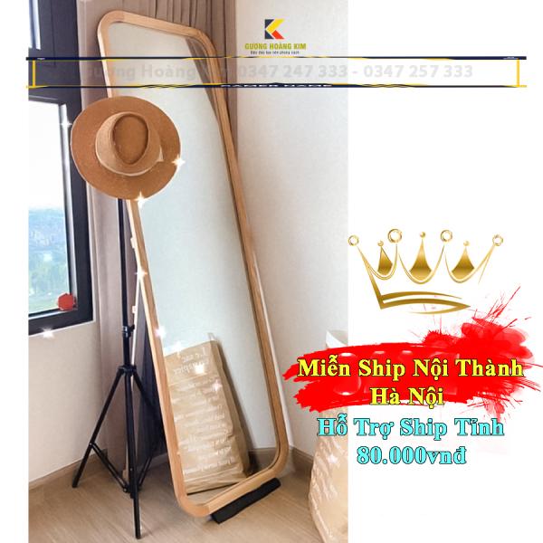 Gương soi toàn thân hoàng kim có khung viền gỗ tự nhiên bo góc tròn sang trọng mã KG-0001_guonghoangkim Mirror