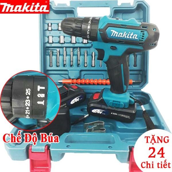 [FULL BOX 2 PIN + Bộ phụ kiện 24 chi tiết] Máy khoan Makita 24V có búa siêu khỏe - Máy khoan cầm tay đa năng MAKITA 24V - Máy bắt vít - khoan gỗ - khoan sắt - khoan tường