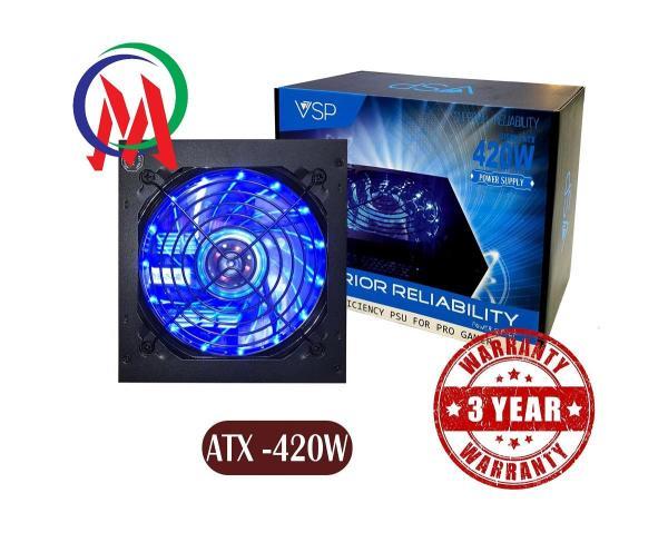 Giá [Tặng kèm dây nguồn + Bh 36 tháng] Nguồn máy tính VSP 420W có đèn Led Full Box Công suất thực