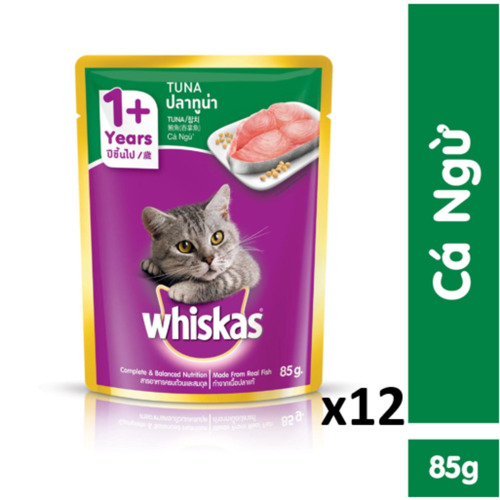 Bộ 12 Túi Thức ăn Cho Mèo Whiskas Vị Cá Ngừ 85g Đang Có Khuyến Mãi