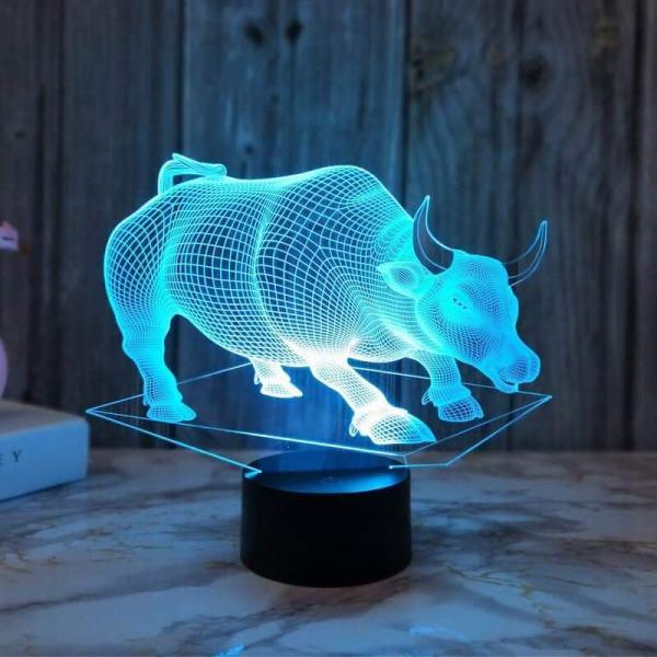 Đèn ngủ led 3D hình Trâu 3d cực ngầu quà trặng ,trang trí nhà cửa , đèn ngủ