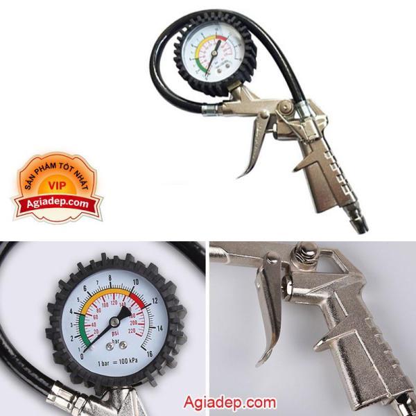Đầu bơm lốp xe hơi oto xe máy + Kèm đồng hồ đo áp suất lốp xe tiện lợi - Hàng chuẩn xịn