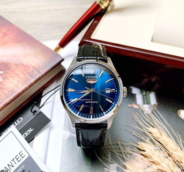 Đồng hồ Nam Citizen Automatic C7 NH8390-20L Size 40mm,Mặt xanh,Lịch thứ ngày-Máy cơ tự động-Dây da đen cao cấp