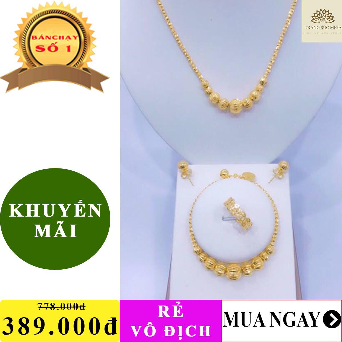 Bộ trang sức bi vàng trơn chạm khắc tinh xảo phong cách thời thượng Trang Sức Miga VB401091926 - dùng đi tiệc cực kì sang chảnh