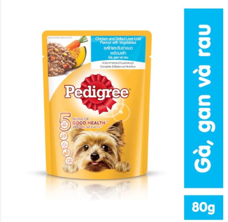 Thức ăn THỊT PATE chó con VÀ LỚN dạng sốt Pedigree 80g NHIỀU VỊ