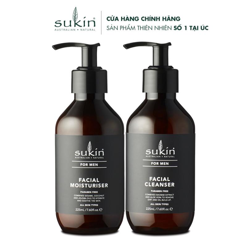 Bộ làm sạch & dưỡng ẩm da cho nam 1 Sữa Rửa Mặt Sukin For Men Cleanser 225ml & 1 Kem Dưỡng Ẩm Men Moisturiser 225ml