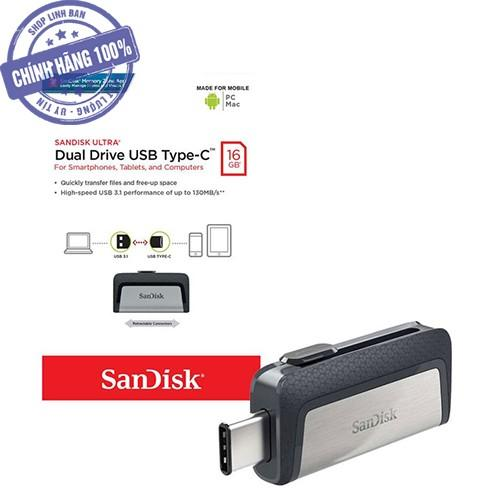 USB OTG Type C sandisk 16GB Ultra dual USB 3.1 150MB/s SDDDC2 (new version)