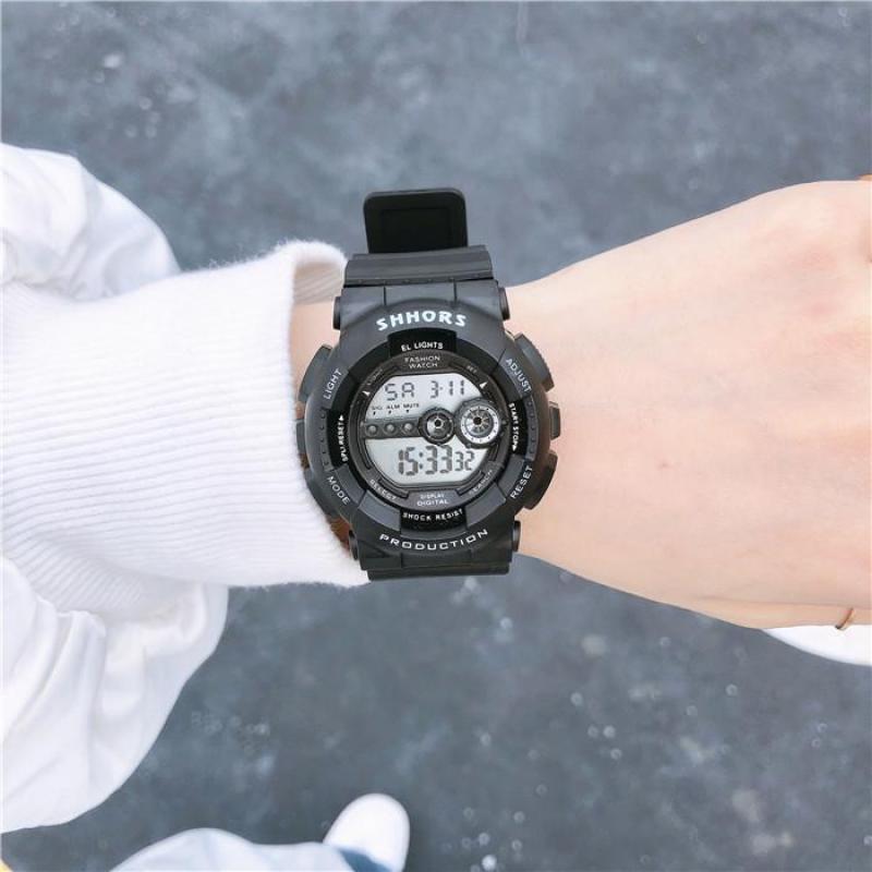 Đồng hồ thể thao nữ SHHORS Size nhỏ xinh chất liệu dây cao su, mặt kính Mineral có độ cứng cao