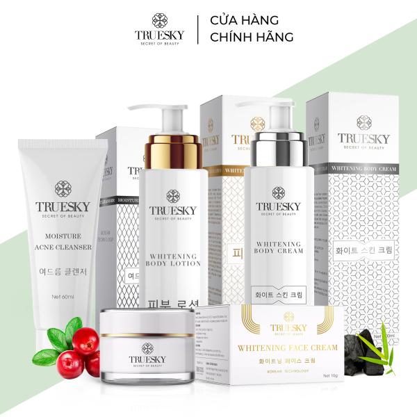 Bộ Truesky VIP03 gồm 1 ủ trắng body 100ml & 1 dưỡng trắng body 100ml & 1 dưỡng trắng da mặt 10g & 1 sữa rửa mặt 60ml giá rẻ