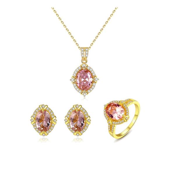 Bộ trang sức bạc nữ trang sức đính đá Saphire hồng cao cấp có dát vàng phần bạc gồm 3 món cho phái nữ BNT618  Bảo Ngọc Jewelry [THIẾT KẾ ĐỘC QUYỀN]