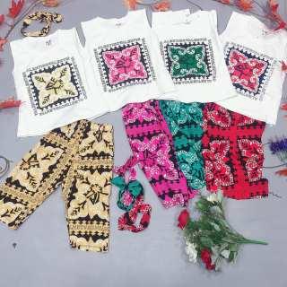 Bộ quần áo bé gái, sét bộ bé gái 3 chi tiết gồm áo cotton quần lanh lụa kèm tuban cho bé gái từ 7kg đến 20kg