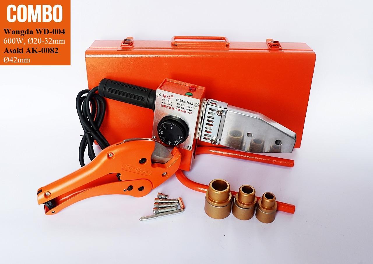 Bộ Kéo cắt và máy hàn ống nước chịu nhiệt cao cấp cho thợ chuyên nghiệp. Máy hàn công suất thưc 600W Wangda WD-004 + đầu hàn 20, 25, 32mm; kéo cắt Ø42mm
