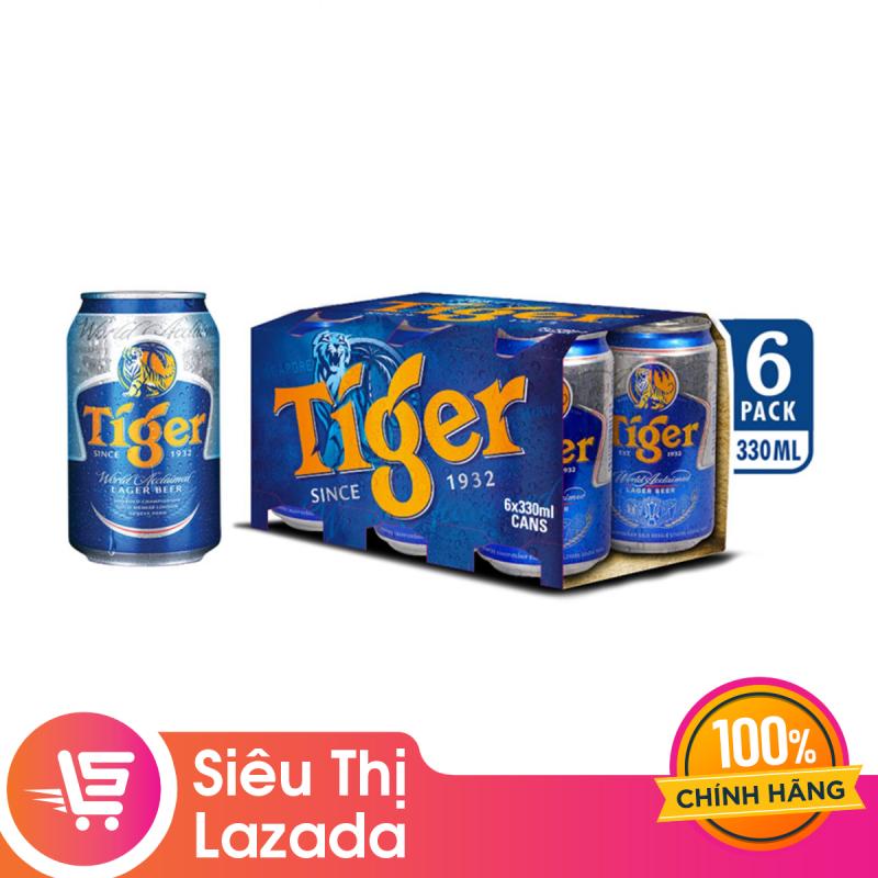 [Siêu thị lazada] Lốc 6 Lon Tiger Thường (330ml / Lon) lên men tự nhiên cho hương vị êm dịu thơm nồng