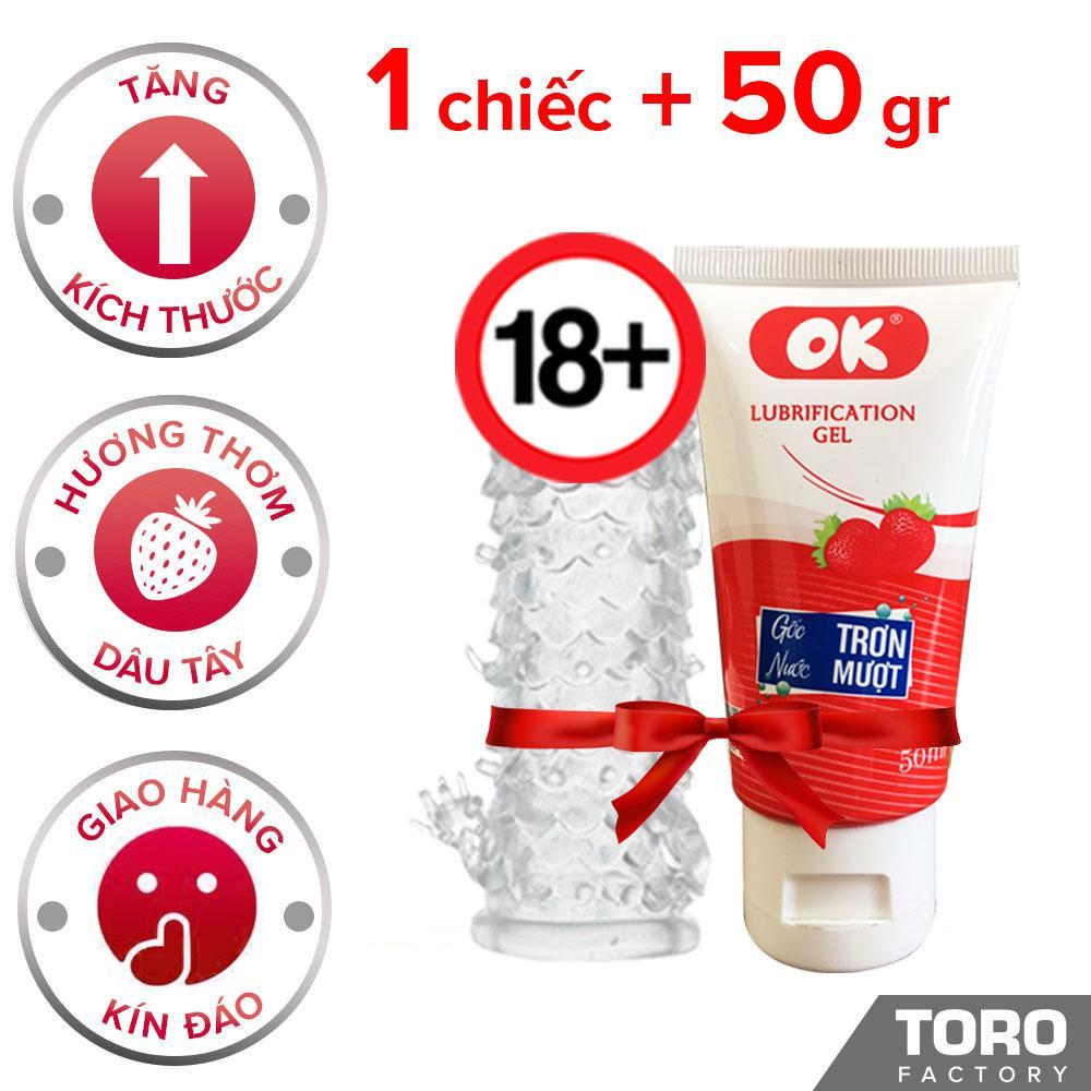 Combo Bao Cao Su Đôn Dên Kiểu Vảy Cá Baile  + 1 gel bôi trơn OK Dâu- Toroshop nhập khẩu