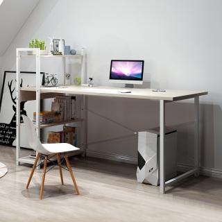 Bàn máy tính bàn học bàn làm việc kèm giá sách gỗ 100cm màu gõ phong chân giá trăngs thumbnail