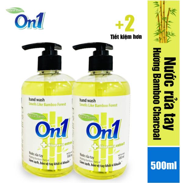 Combo 2 chai nước rửa tay sạch khuẩn On1 (2 Chai x 500ml) hương bamboo Charcoal RT504, khả năng diệt khuẩn cao, phòng chống dịch bệnh, mùi hương được lấy cảm hứng từ thiên nhiên nhập khẩu