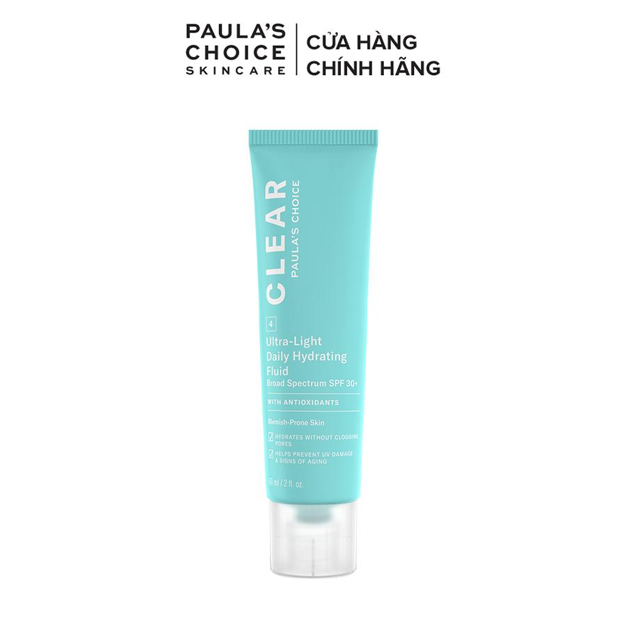 Kem chống nắng dạng sữa siêu nhẹ dành cho da mụn Paula's Choice Clear Ultra-Light Daily Fluid SPF 30 60 ml