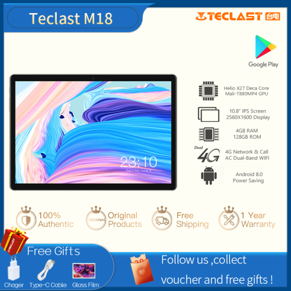【New Arrival】Teclast M18 10.8 Inch Deca Core  4GB RAM 128GB ROM IPS Screen Android Tablet 2560×1600 Resolution 4G Network Tablets Game Pad Video Player