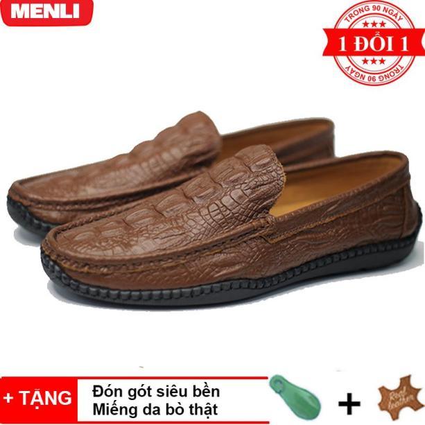 [SIÊU RẺ] Giày lười giày mọi nam DA BÒ 100% MENLI  GLLZ148 dập vân cá sấu trẻ trung (Đen, Nâu) giá rẻ