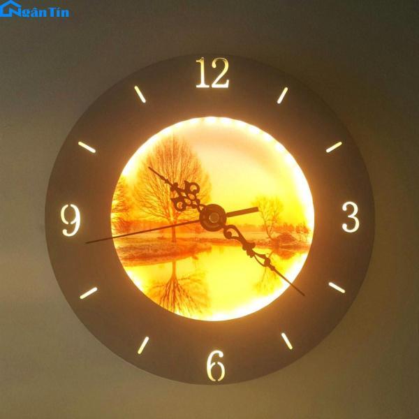Đèn ngủ trang trí treo tường tích hợp đồng hồ Led 8W 3 chế độ màu 220V GT329E Ngân Tin