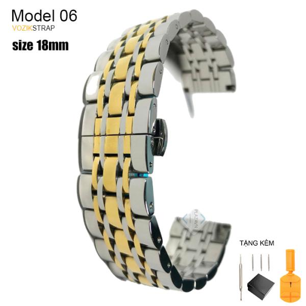 Nơi bán (size 18mm) Dây đồng hồ thép không gỉ inox model 06 khóa bấm chống han gỉ chống bay màu