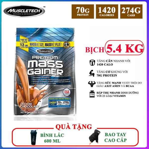 [TẶNG BÌNH VÀ BAO TAY] Sữa tăng cân tăng cơ cao cấp Premium Mass Gainer của MuscleTech bịch 5.4 kg dễ hấp thu, không kén người dùng, có enzym tiêu hóa - thực phẩm bổ sung cho người tập GYM cao cấp