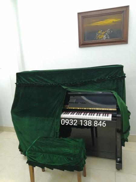 590K KHĂN PHỦ ĐÀN PIANO VẢI NHUNG MÀU XANH RÊU