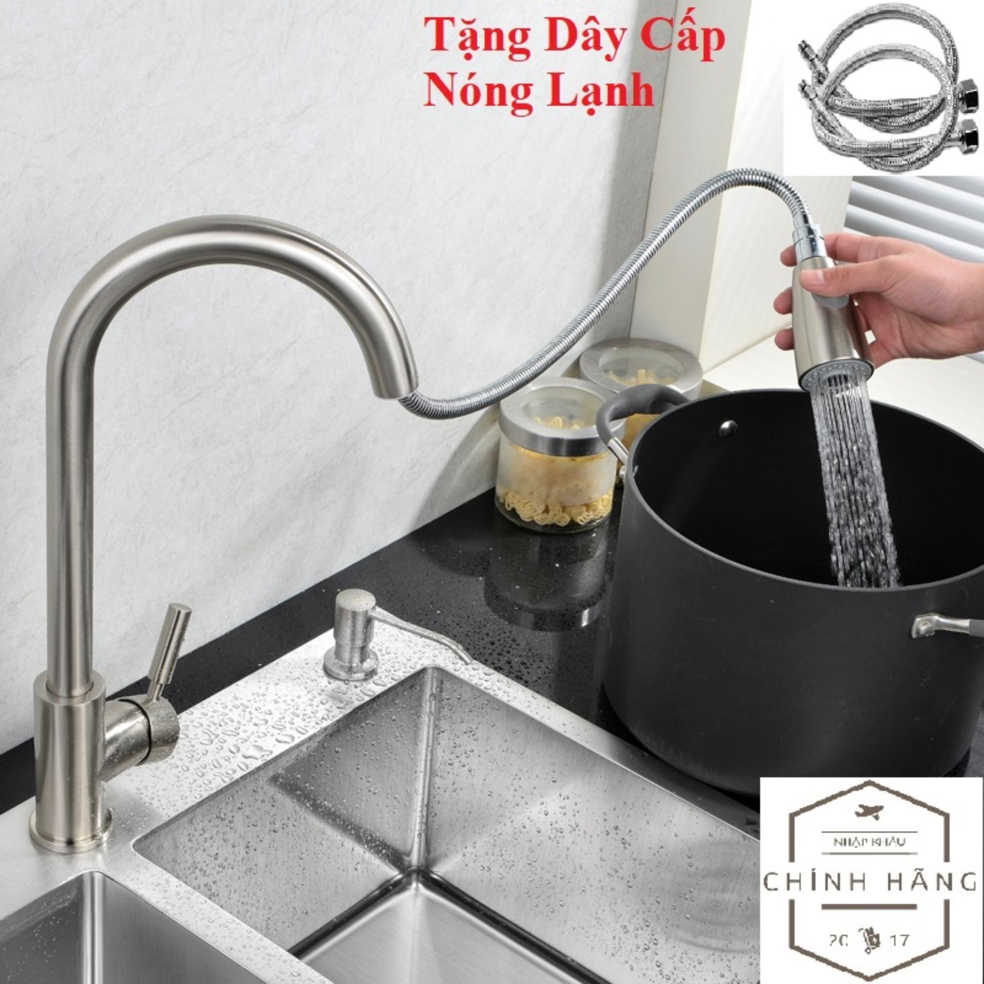 Vòi rửa chén bát Inox 304 rút đa năng vòi tăng áp cao cấp Nóng Lạnh (tặng dây cấp - bảo hành 12 tháng)