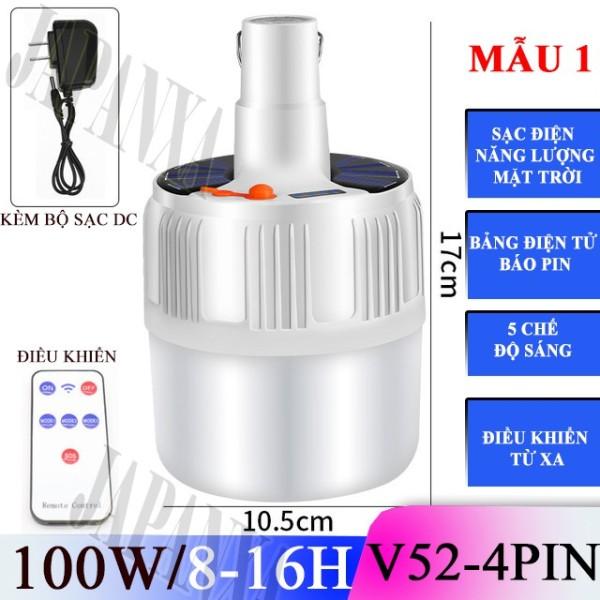 Bảng giá Bóng đèn led bulb tích điện năng lượng mặt trời siêu sáng 60w 80w 100w có điều khiển chống nước kèm sạc điện thông minh