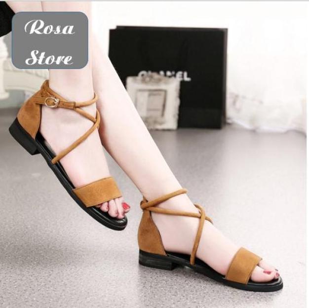 Giày sandal nhung ngang dây chéo cổ chân SD-0068 giá rẻ
