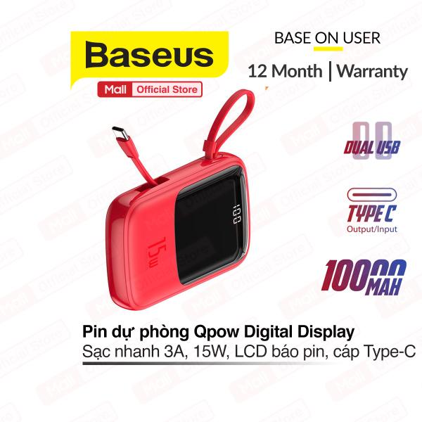 Pin dự phòng Baseus Q Pow Digital Display 10,000mAh sạc nhanh 3A, công suất 15W tích hợp cáp sạc Type-C tiện lợi