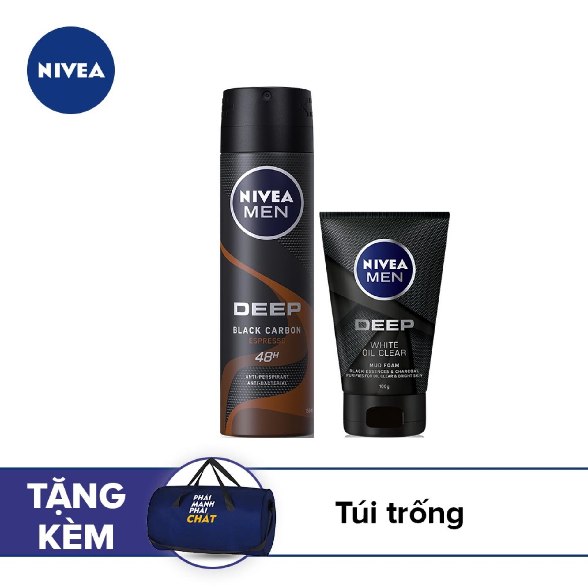 [Tặng Túi trống thời trang] Bộ sản phẩm Sữa rửa mặt Nivea than đen hoạt tính 100g & Xịt ngăn mùi than đen Nivea hương Espresso 150ml cao cấp