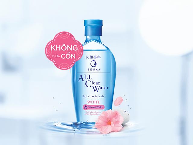Combo 2 sản phẩm Nước tẩy trang SENKA A.L.L. CLEAR WATER Micellar Formula  White 230ml và Sữa Rửa Mặt Tạo Bọt Chiết Xuất Đất Sét Trắng Senka Perfect  White Clay New |