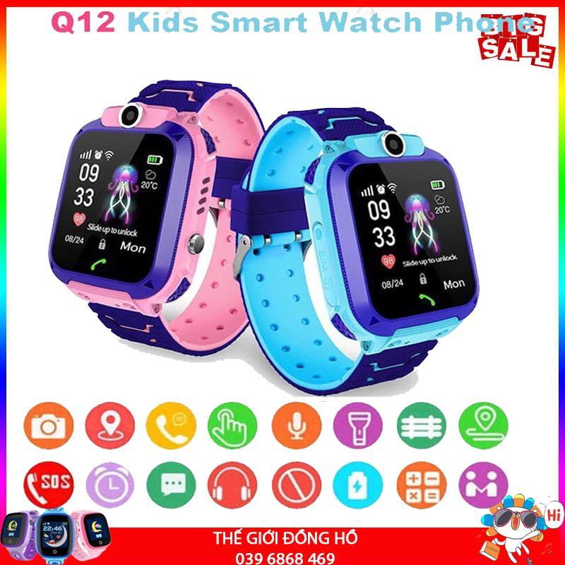 Đồng Hồ Thông Minh GPS Định Vị Cho Trẻ Em Smart Watch Q12 Thế Hệ Mới 2019. Nhắn Tin Gọi Điện, Chống Thấm Nước Cao Cấp, Camera Chụp Hình Sắc Nét, Trò Chơi Giải Trí.