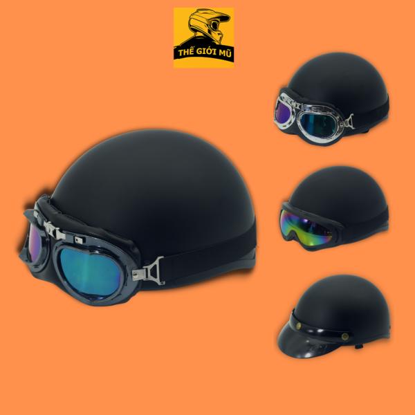 Mũ bảo hiểm nửa đâu màu đen trơn cao cấp, có kèm kính, freesize, Thế Giới Mũ Bảo Hiểm