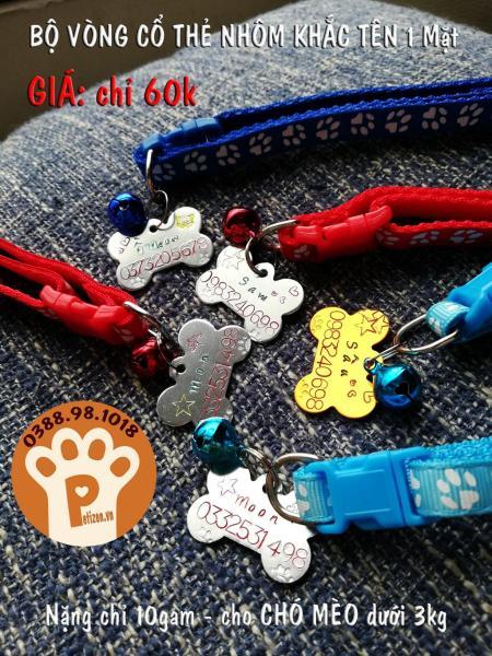 [Combo] Thẻ khắc tên tặng vòng cổ cho Chó Mèo nhỏ dưới 4kg