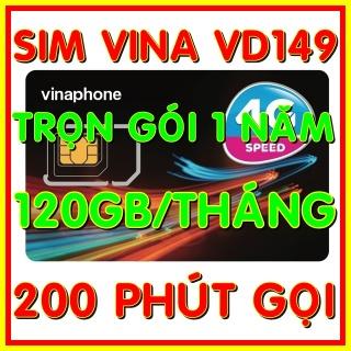 Sim 4G Vinaphone VD149 trọn gói 1 năm có 4GB ngày (120GB tháng) tốc độ cao 4G + 200 phút gọi ngoại mạng + Miễn phí gọi nội mạng Vinaphone gói VD149 - Giống như sim 4G Vinaphone VD89P (VD89 Plus) - Shop Sim G thumbnail