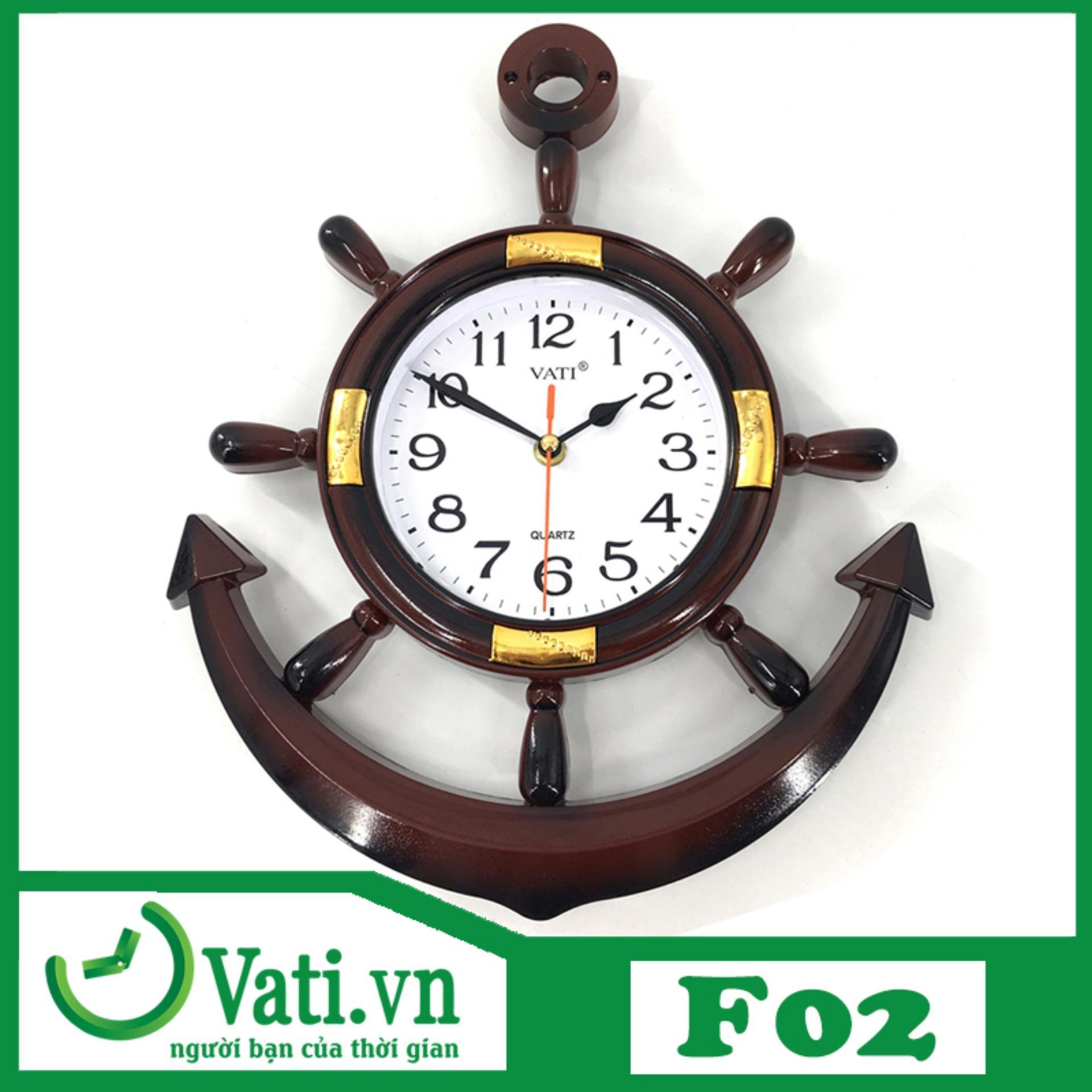 Đồng hồ treo tường Vati mỏ neo F02 ( nâu ) - Sang trọng độc đáo bán chạy