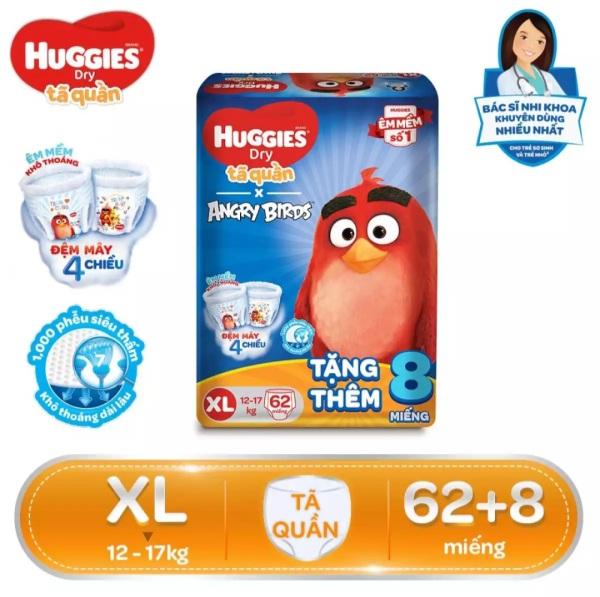 [TẶNG THÊM 8 MIẾNG] Tã quần Huggies size XL62 (mẫu Angry Birds)