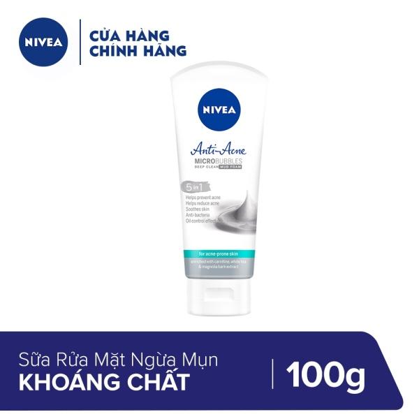 Sữa Rửa Mặt Khoáng Chất Ngừa Mụn và Sạch Cặn Trang Điểm Nivea Acne Care Make Up Clear Mud Foam 100g - 86486