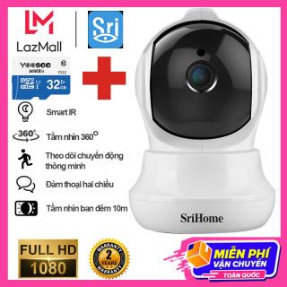 ( Bảo hành 36 tháng- Tặng thẻ nhớ 32GB trị giá 200k) Camera Wifi giám sát, quan sát không dây SriHome SH025 Full HD 1080-Camera an ninh -Tiêu cự 3.6mm- Hồng ngoại xem đêm- Đàm thoại 2 chiều thumbnail