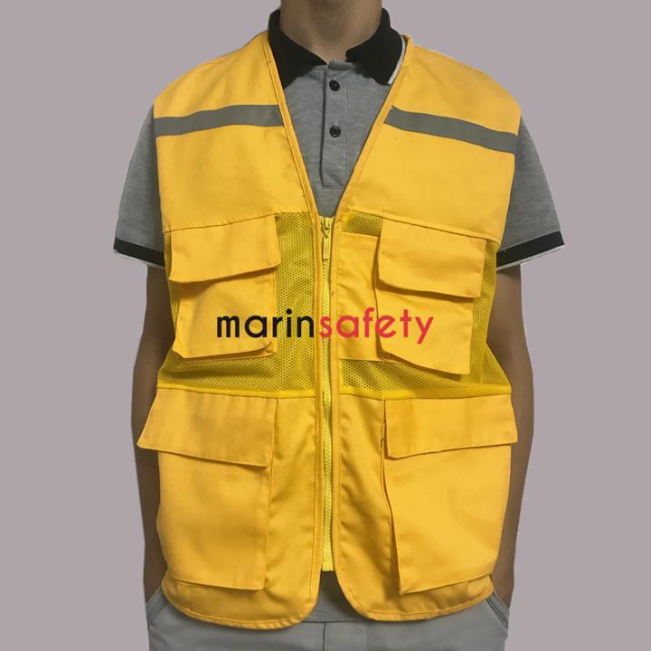 Áo gile bảo hộ 4 túi hộp vải kaki kết hợp vải lưới màu vàng (LOẠI TỐT)